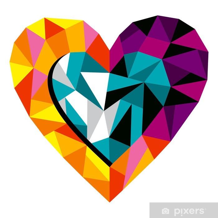Papier peint vinyle Coeur Origami Amour - Bonheur