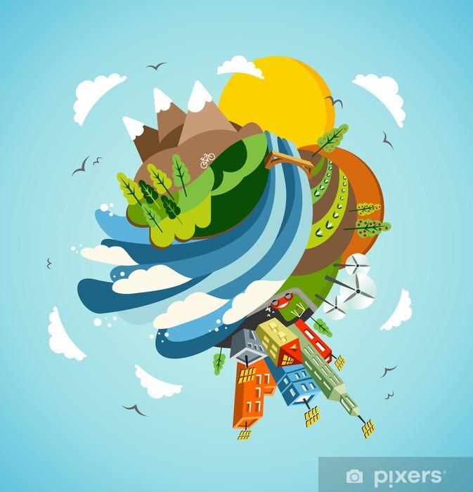 Go Green energy Earth illustration Pixerstick Sticker - Ecology