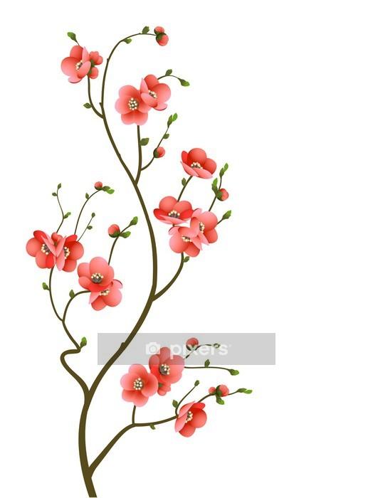 Vinilo para Pared Flor de cerezo rama fondo abstracto -