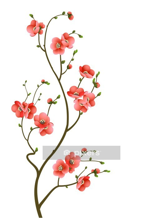 cherry blossom branch abstract background Wall Decal -