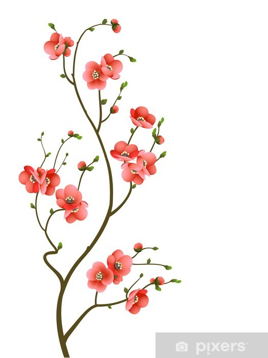 cherry blossom branch abstract background Pixerstick Sticker -