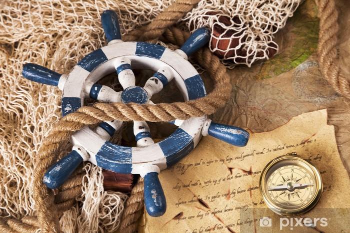 Fototapeta winylowa Vintage, sprzęt nawigacyjny, kompas i inne instrumenty - Transport wodny