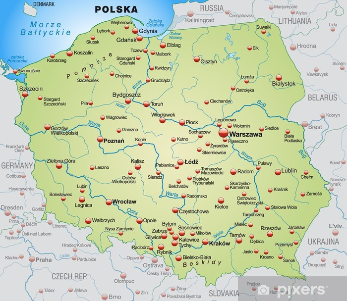 Papier peint vinyle Carte de la Pologne avec les pays voisins - Thèmes