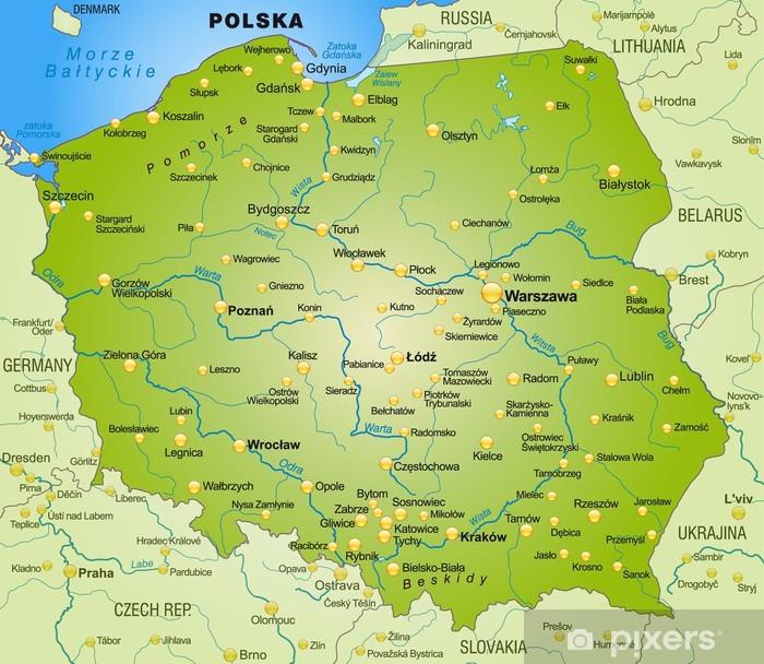 Fototapeta winylowa Mapa Polski ze stolicami - Tematy