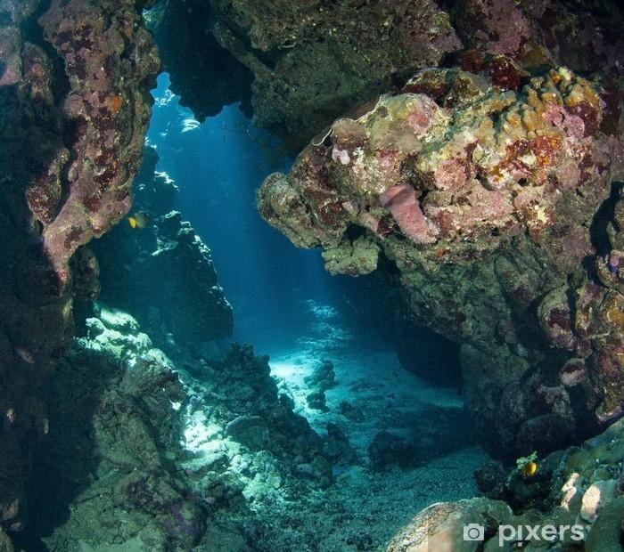 Vinyl Fotobehang Onderwater grot met zonlicht - Koraalrif