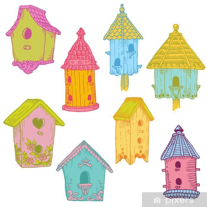 Plakat Kolorowe Ptaki Domy - ręcznie rysowane w wektorze - do projektowania i SCR - Ptaki