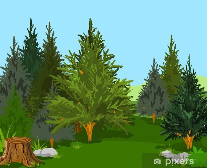 Sticker Pixerstick Paysage forestier - Arrière plans