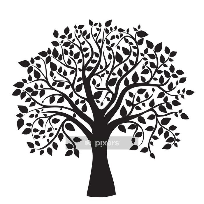 Vinilo para Pared Silueta del árbol negro sobre fondo blanco - Vinilo para pared