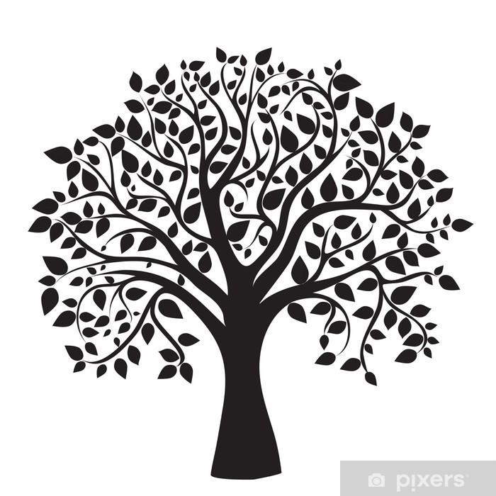 Papier peint vinyle Silhouette d'arbre noir isolé sur fond blanc - Sticker mural