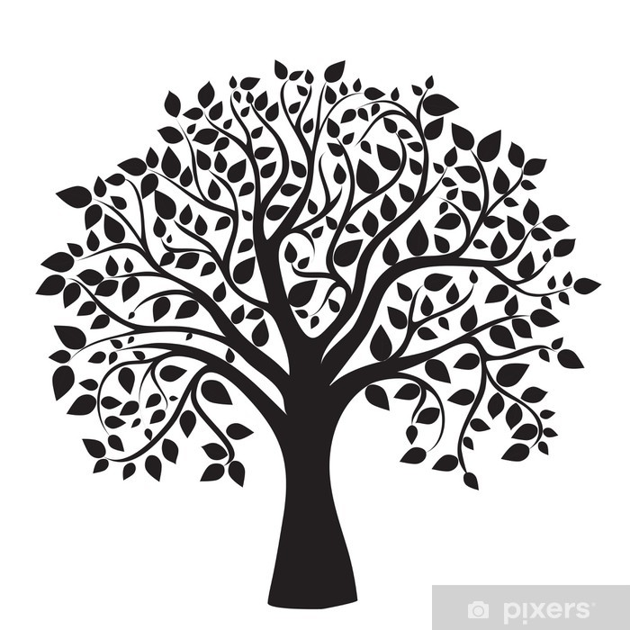 black tree silhouette isolated on white background Pixerstick Sticker - Wall decals