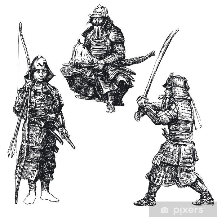 Pixerstick Sticker Japanse krijger - samurai - Andere Gevoelens