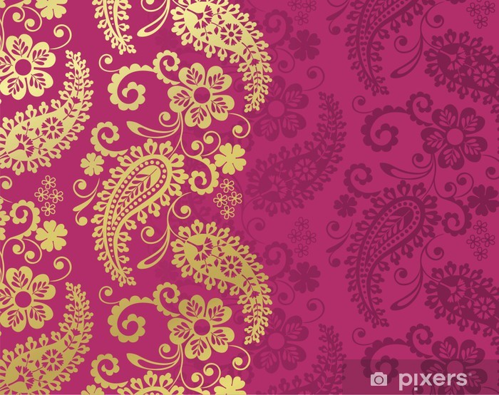 paisley floral pattern, textile , Rajasthan, royal India Vinyl Wall Mural - Styles