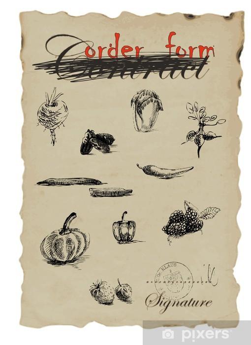 Fototapeta winylowa Owoce i warzywa, rysunek odręczny - Owoce