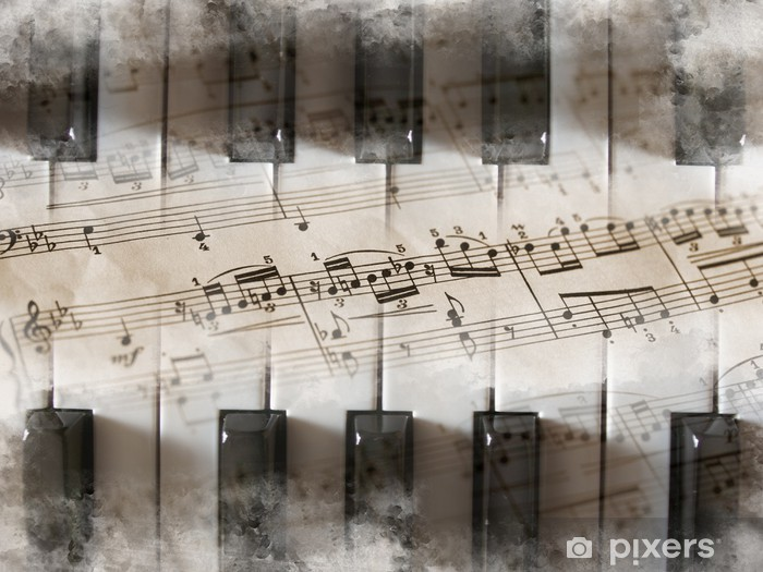 Papier peint vinyle Touches de piano, partitions, notes de musique - Piano à queue
