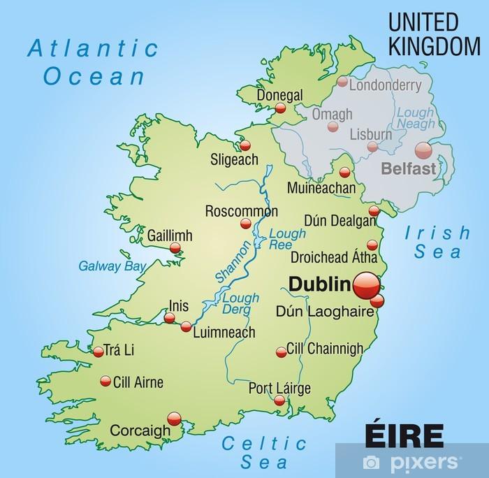 Landkarte Von Irland Mit Nachbarland Sticker Pixers We Live