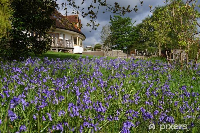 Carpet of Bluebells in an English Garden Lack Table Veneer - Home and Garden