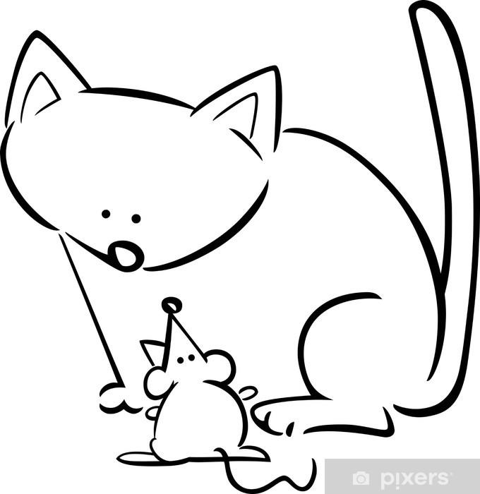 Boyama Kedi Ve Fare çizgi Film Doodle Duvar Resmi Pixers Haydi