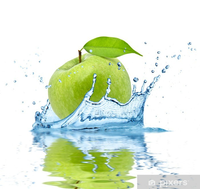 Green apple falling into water, isolated on white background Pixerstick Sticker - Fruit
