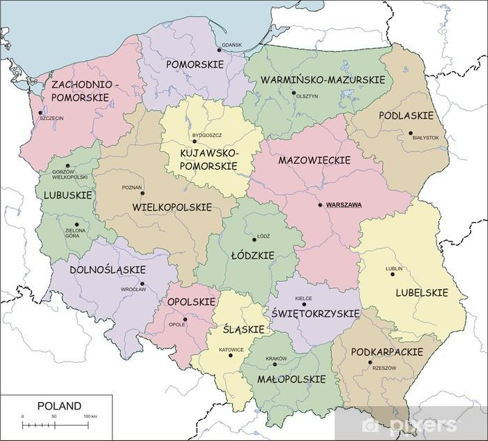 Fototapeta Contour Mapa Polski Z Wojewodztw Rzeki I Jeziora