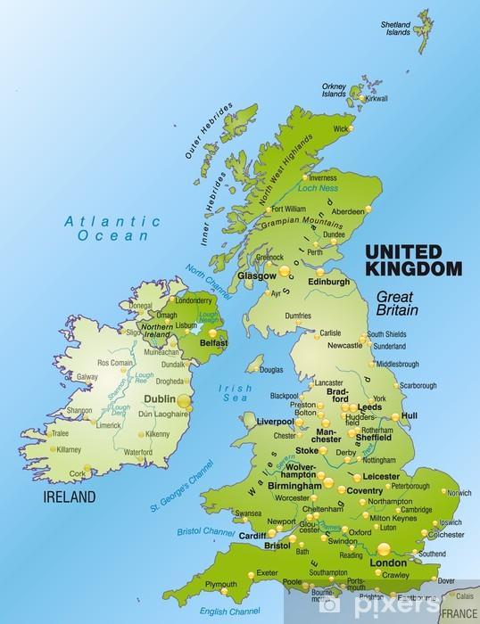 Birmingham Karte.Ubersichtskarte Grossbritanniens Und Nordirland Mit Umland Wall Mural Vinyl