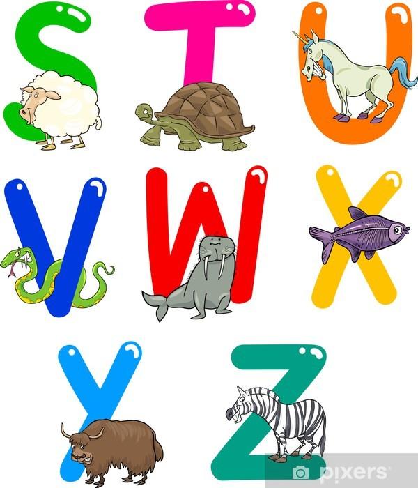 Pixerstick Sticker Alfabet van het Beeldverhaal met dieren - Thema's
