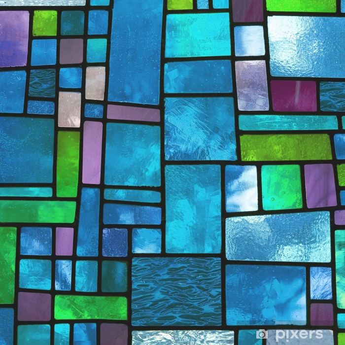 Multicolored stained blue glass window, square format Vinyl Wall Mural - Backgrounds