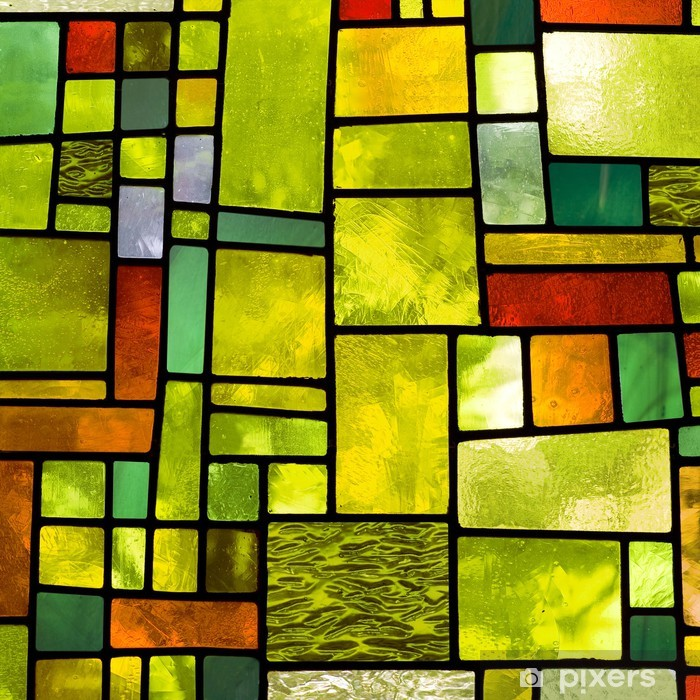 Multicolored stained glass window, square format Washable Wall Mural - iStaging