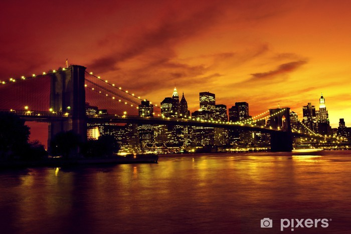 Brooklyn Bridge and Manhattan at sunset, New York Pixerstick Sticker -