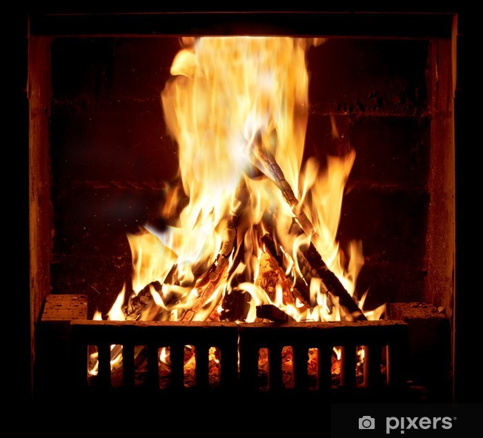 Burning fire in the fireplace Framed Poster - Themes