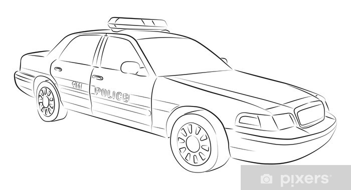fotobehang tekening van politie-auto • pixers® - we leven om te