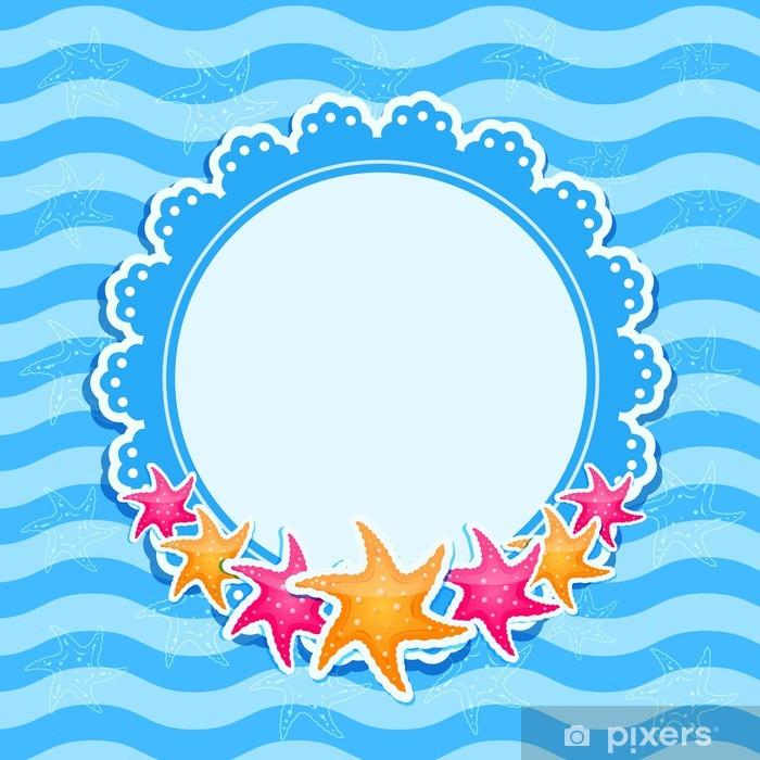 Vinyl-Fototapete Blue Marine Einladungskarte mit Bright Starfishes - Hintergründe