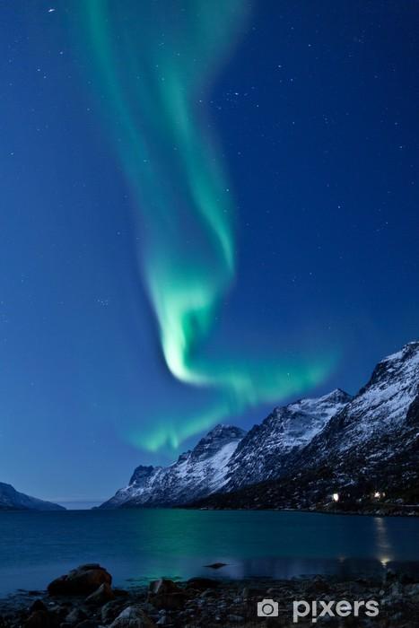 Aurora Borealis in Norway, reflected Pixerstick Sticker - Themes