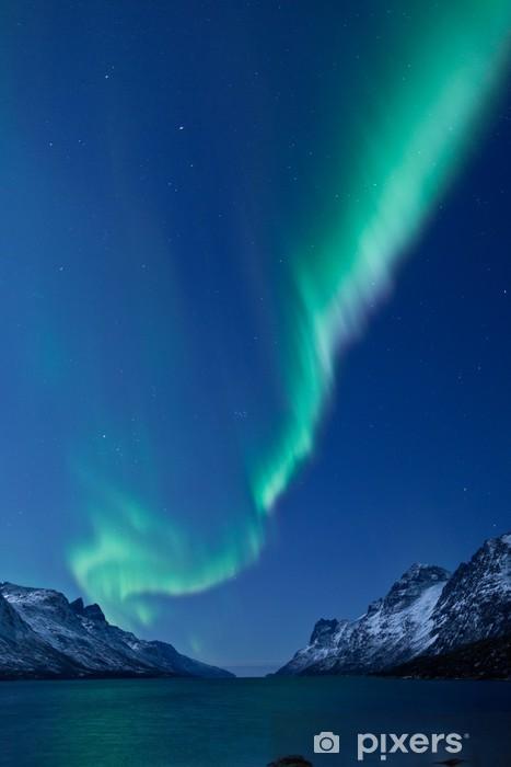 Aurora Borealis between fjords Vinyl Wall Mural - Themes