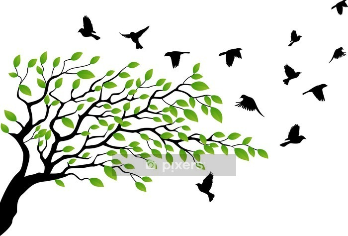 Tree with bird flying Wall Decal - Themes
