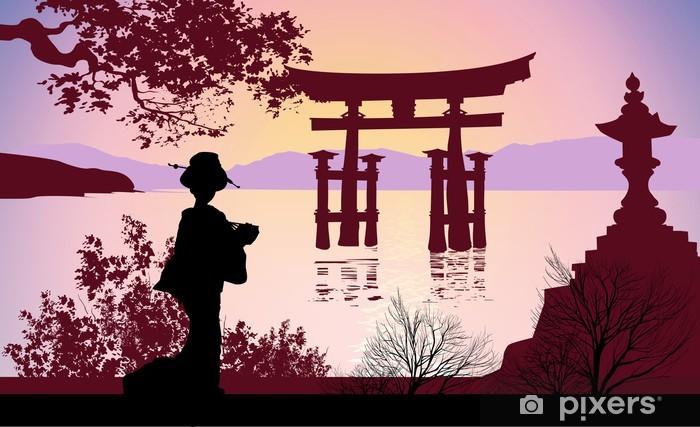 Carta da Parati in Vinile Geisha e il Monte Fuji - Giappone