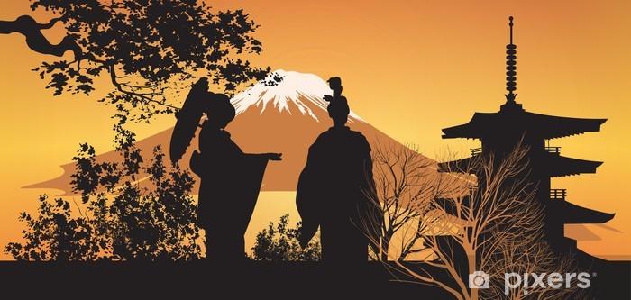 Papier peint vinyle Geisha et Pagode - Japon