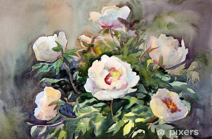 Fototapeta winylowa Malarstwo akwarela z pięknych kwiatów. - Sztuka i twórczość