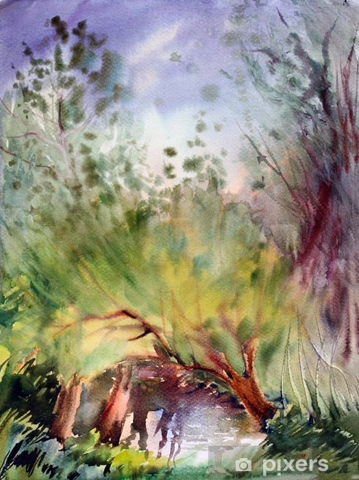Sticker Pixerstick Paysage naturel peint par aquarelle - Art et création