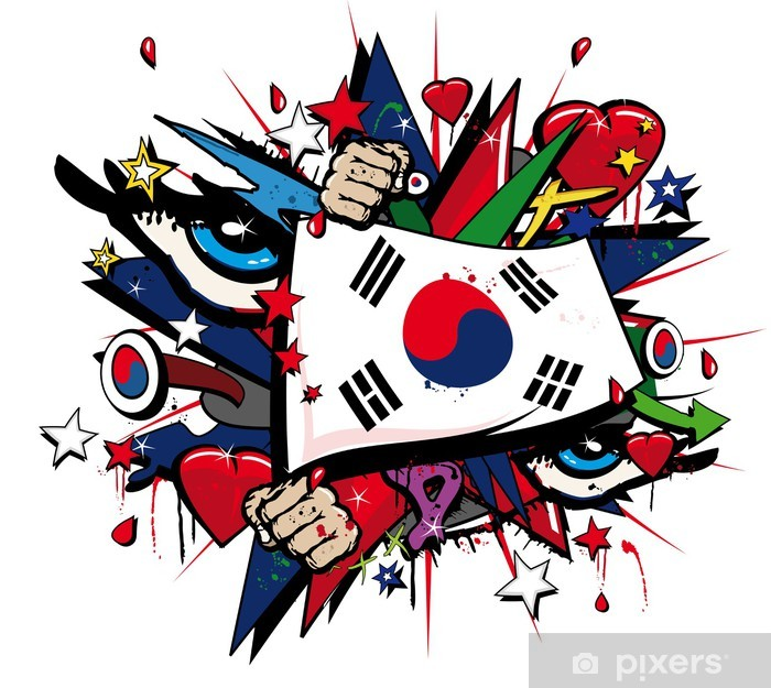 Fototapeta winylowa Korea Południowa graffiti, koreański pop sztuki ilustracji - Naklejki na ścianę