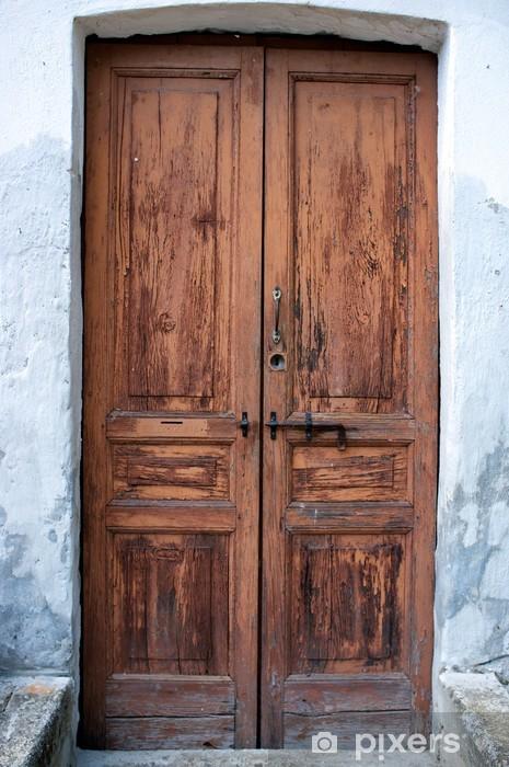 Vecchia porta in legno color image Pixerstick Sticker - iStaging