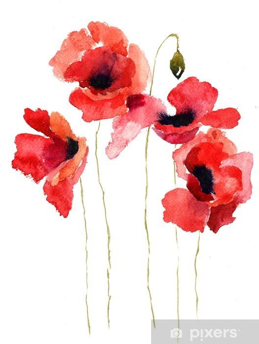 Fototapeta winylowa Ilustracja stylizowane kwiaty maku - Tematy