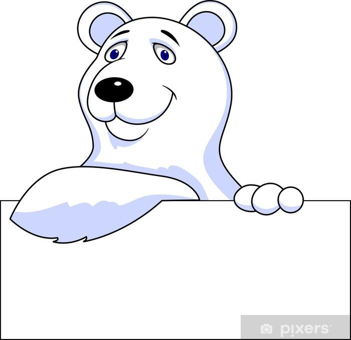 Sticker dessin anim ours polaire avec signe blanc pixers nous vivons pour changer - Ours polaire dessin ...