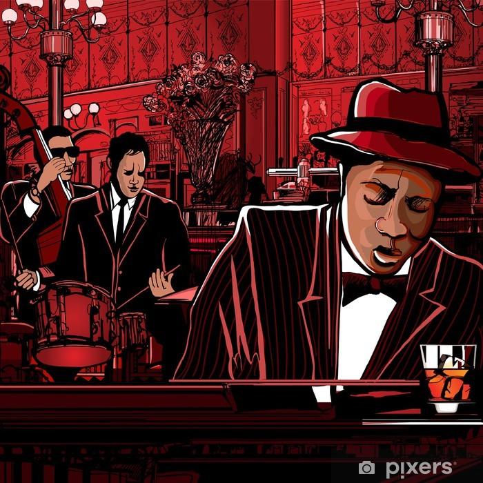 Vinyl Fotobehang Piano-jazz band in een restaurant - jazz