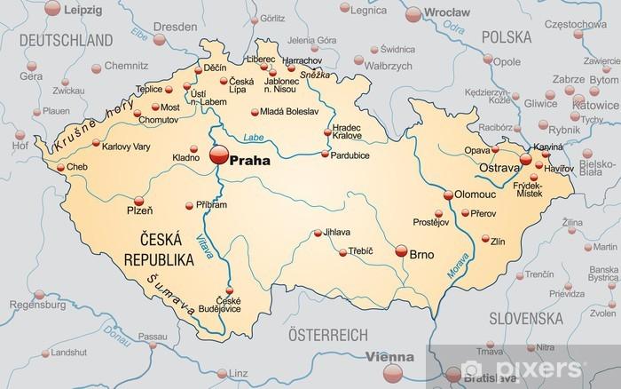 Fototapete Landkarte Von Tschechien Mit Nachbarlandern Und