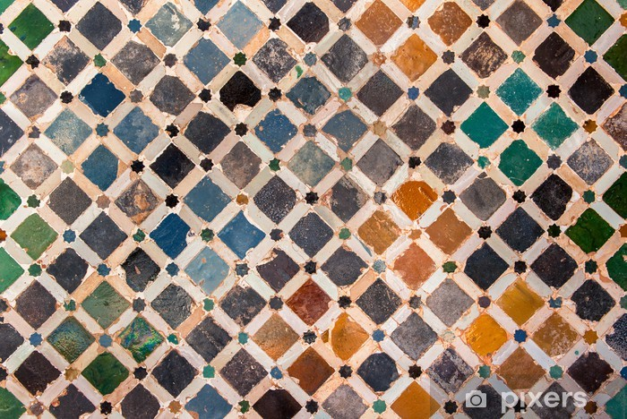 Tile decoration, Alhambra palace, Spain Vinyl Wall Mural - Backgrounds