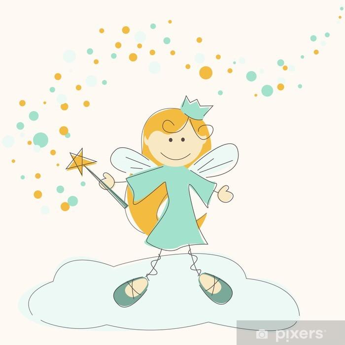 Sticker Pixerstick Vector illustration d'une fée avec baguette magique - Enfants