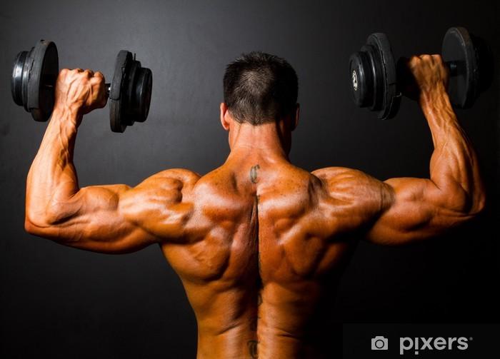 Vinyl Fotobehang Achteraanzicht van bodybuilder training met halters - Gezondheid