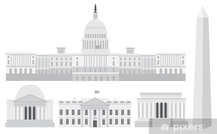 Naklejka Pixerstick Waszyngton Budynki Capitol i Pomniki - Miasta amerykańskie