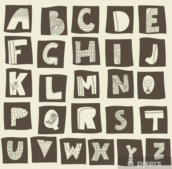 Plakat Alfabet doodle stylu retro - Tematy
