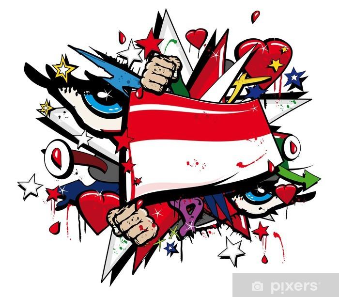 Flag Indonesia graffiti Jakarta pop art illustration Vinyl Wall Mural - Wall decals